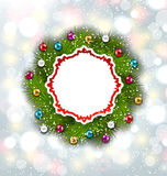Paper Card with Christmas Wreath and Balls Stock Photos