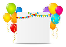 Paper card with color balloons Royalty Free Stock Image