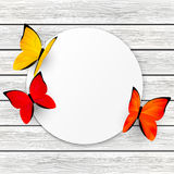 Paper card with color butterflies Stock Photo