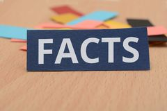 Paper Card design with word Facts on it Royalty Free Stock Photos