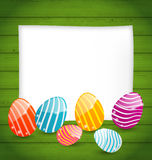 Paper card with Easter colorful eggs Royalty Free Stock Photos