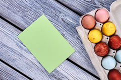 Paper card and eggs. stock images