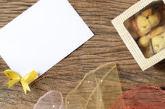 Paper card and gift box Stock Photography