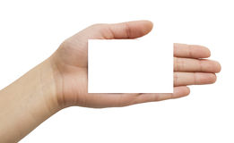 Paper card in a hand Stock Images