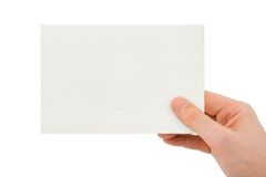 Paper card in hand Royalty Free Stock Photos