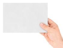 Paper card in hand Stock Images