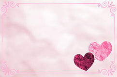 Paper card with hearts and retro frame Royalty Free Stock Image