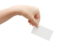 Paper Card In Woman Hand I Royalty Free Stock Photos