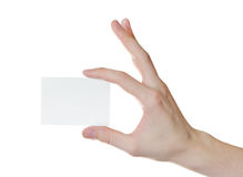 Paper card in man hand Royalty Free Stock Photos