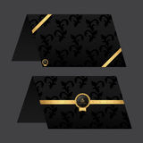 Paper Card menu. Black with golden color. Ornament and tag. Stock Photo