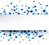 Paper card over blue confetti. Paper card on blue celebration confetti. Vector background vector illustration