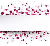 Paper card over pink confetti. Paper card on pink celebration confetti. Vector background royalty free illustration