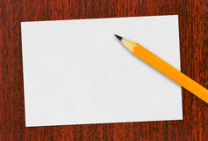 Paper card and pencil Royalty Free Stock Photography
