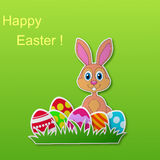 Paper card with rabbit and Easter eggs Royalty Free Stock Image