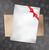 Paper Card with Red Bow. Vector illustration. Royalty Free Stock Images
