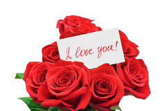 Paper card and roses Royalty Free Stock Photo