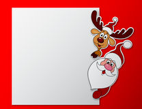 Paper card with Santa clause and deer with blank sign Royalty Free Stock Photos