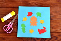 Paper card with sea animals and fishes. Creative ocean creatures crafts for kids Royalty Free Stock Photography