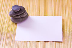 Paper card and sheels, add your text. Blank card and sea shells Stock Images