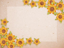 Paper card with sunflower flower Stock Photos