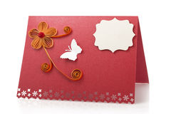 Paper card or table card made with quilling technique  Stock Image