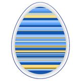 Paper card template with multicolor striped easter egg stock illustration