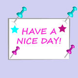 Paper card with text and color 3D pins isolated on purple background. Vector illustration Stock Photography