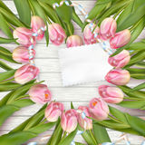 Paper card with tulips. EPS 10 Royalty Free Stock Photography