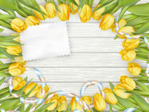 Paper card with tulips. EPS 10 Stock Photo