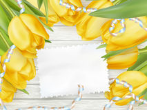Paper card with tulips. EPS 10 Royalty Free Stock Photos
