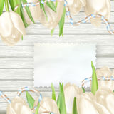 Paper card with tulips. EPS 10 royalty free illustration