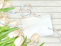 Paper card with tulips. EPS 10 stock illustration
