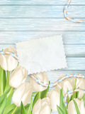 Paper card with tulips. EPS 10 Stock Images