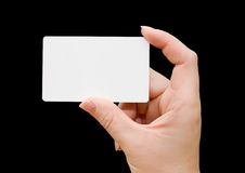 Paper card in woman hand Royalty Free Stock Photo