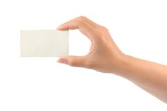 Paper card in woman hand Stock Photo