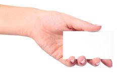 Paper card in woman hand Stock Photography