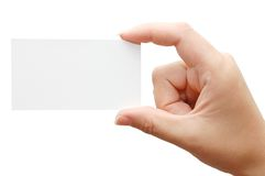 Paper card in woman hand Stock Image