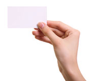 Paper card in woman hand isolated Stock Photography