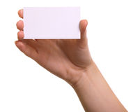 Paper card in woman hand isolated Stock Images