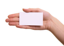 Paper card in woman hand isolated Royalty Free Stock Image