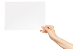 Paper card in woman hand isolated Stock Image
