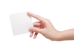 Paper card in woman hand Stock Photos