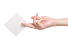 Paper card in woman hand Royalty Free Stock Image
