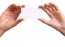 Paper card in woman hands isolated Royalty Free Stock Photography