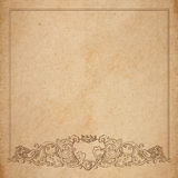 Paper cardboard with vintage frame. Vintage old paper texture with vector vignette with Medieval ornament, hand drawn floral decorative frame with heart and Stock Photos