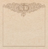 Paper cardboard with vintage frame. Vintage old paper texture with vector vignette with Medieval ornament, hand drawn floral decorative frame with wedding rings Stock Photos