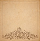 Paper cardboard with vintage frame. Vintage old paper texture with vector vignette with Medieval ornament, hand drawn floral decorative frame with wedding rings Royalty Free Stock Photography