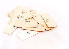 The paper cards. With words Royalty Free Stock Photos