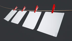 Paper cards hanging on the rope Stock Photography