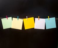 Paper  cards hanging on the rope Royalty Free Stock Photo